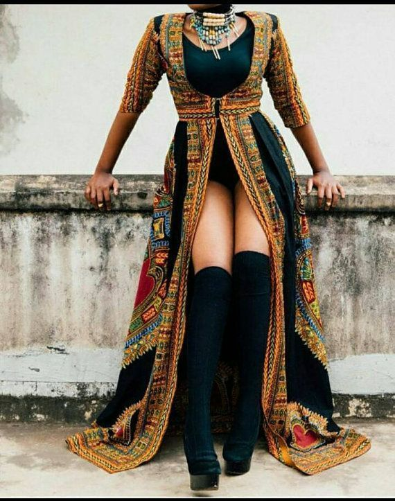 Schwarzes Daashiki-Kleid mit bodenlangen Schmetterlingen, Daashiki-Overall, afrikanisches Kle... #afrikanischeskleid