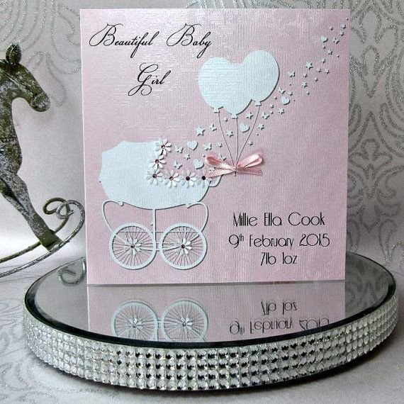 Handmade personalised Luxury Christening day Card with a pretty vintage frame