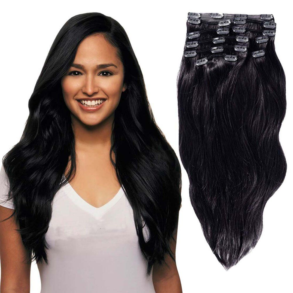 Clip In Sets 10pcs Clip In Human Hair Extensions Jet Black 1 Remy