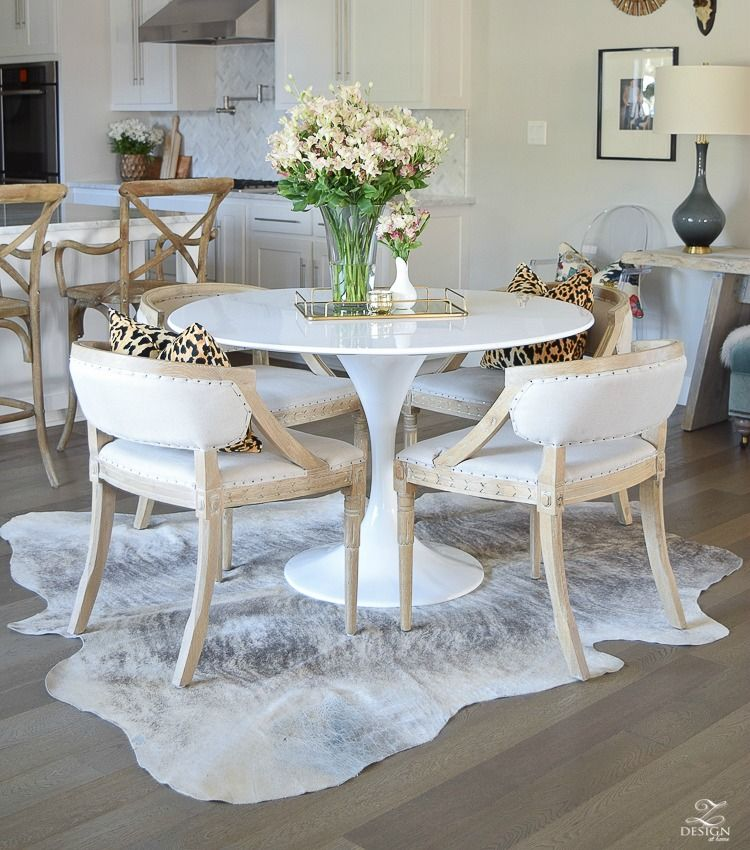 How To Get The Curl Out Of A Cowhide Rug Farmhouse Dining Room Table Rugs In Living Room Dining Room Design