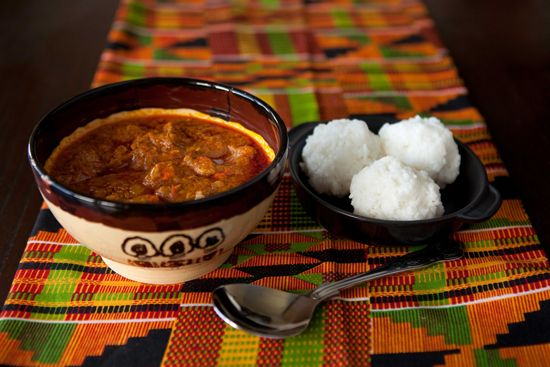 Palm nut stew soup and omo tuo rice balls ghana for Afro fusion cuisine