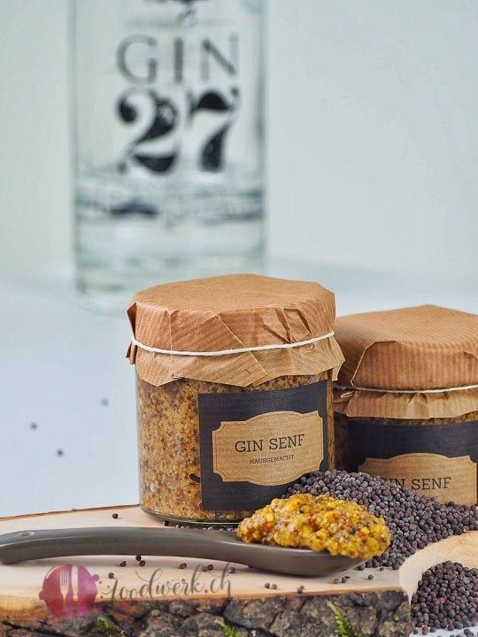 Hausgemachter Gin Senf (inkl. Etikette zum Ausdrucken)