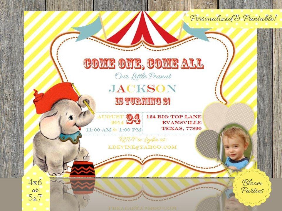 Circus Birthday Invitation Circus Elephant Birthday Party Circus ...