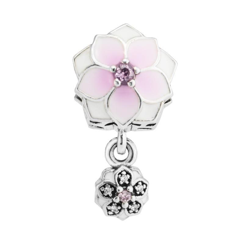 925 STERLING SILVER UNBRANDED JUNE DANGLE FLOWER WITH PEARL EUROPEAN BEAD CHARM Fashion Charms & Charm Bracelets charms