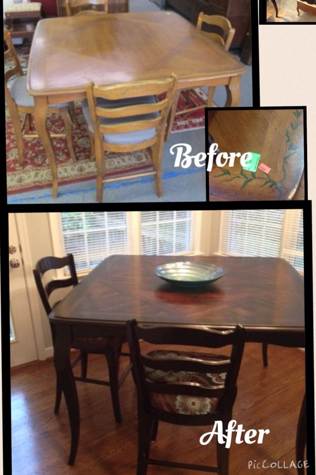 Before and after pictures this is a solid maple pub table with a before and after pictures this is a solid maple pub table with a veneer overlay i refinished it using a dark walnut stain and clear satin poly watchthetrailerfo