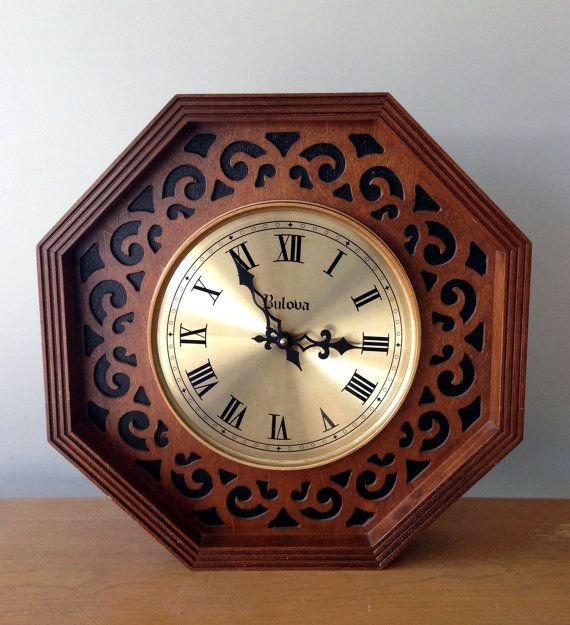 Vintage Bulova Wall Clock Or Mantel Clock Fretwork Design Mid Century Clock Clock Mid Century Clock Bulova Wall Clock