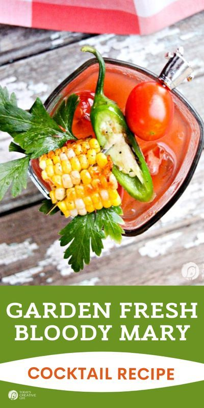 This Bloody Mary recipe is packed with garden fresh vegetables. Summer Cocktails Recipes found on TodaysCreativeLife.com