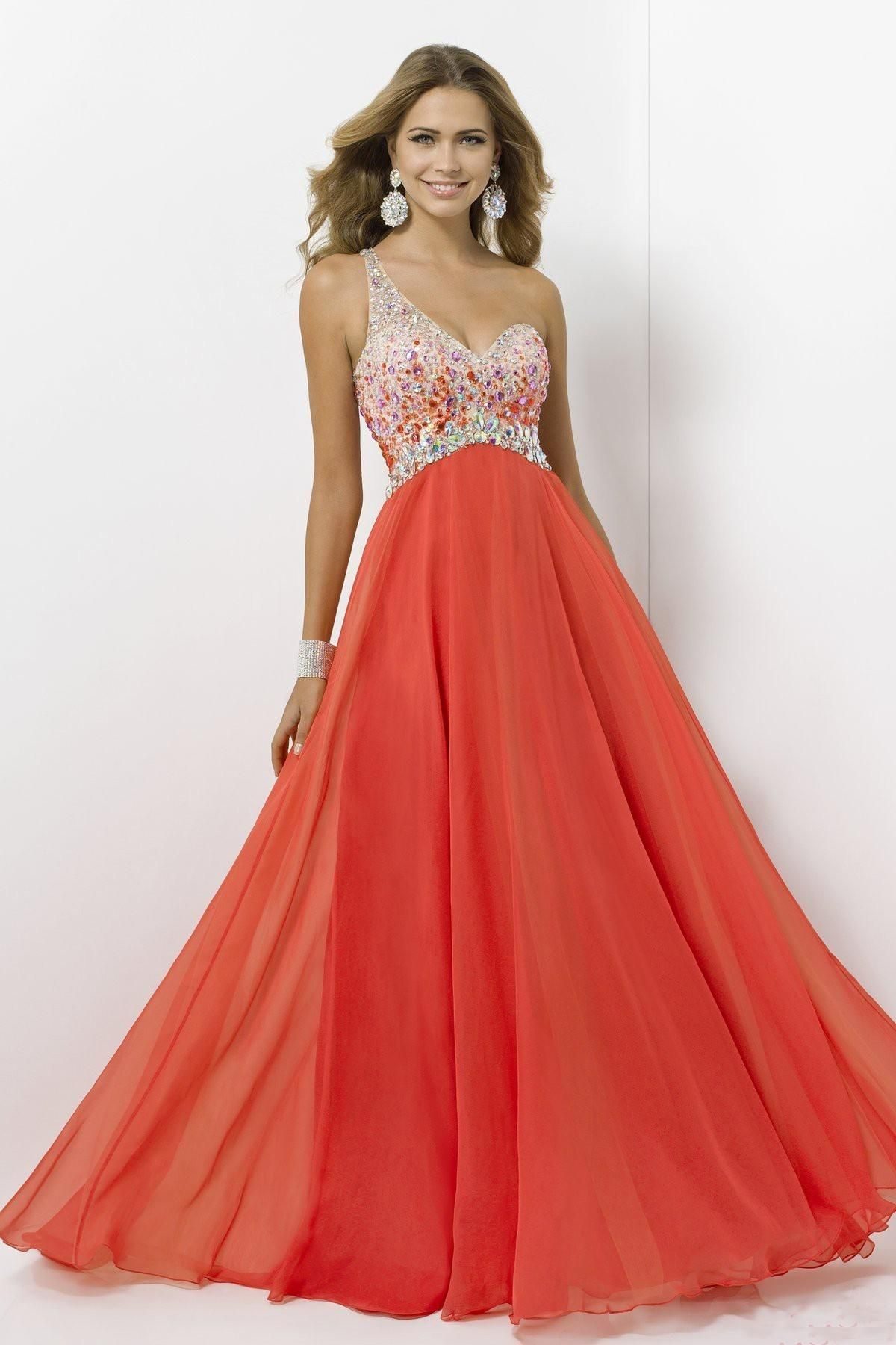 Oneshoulder beaded chiffon aline floorlength prom dress with