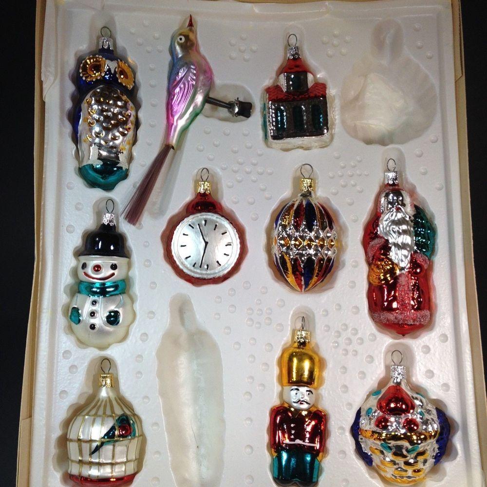 Novelty ornaments - Vintage Lot Of 10 Kurt Adler Glass Novelty Ornaments Made In Czechoslovakia