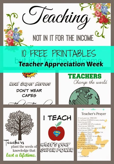 10 Free Printables for Teacher Appreciation Week | I Teach