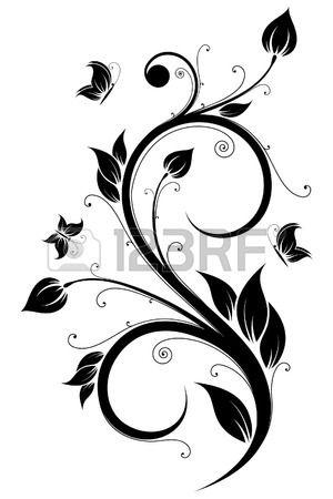 Floral Design Element With Flowers And Butterflies Arte Vettoriale Disegno Floreale Stencil Art