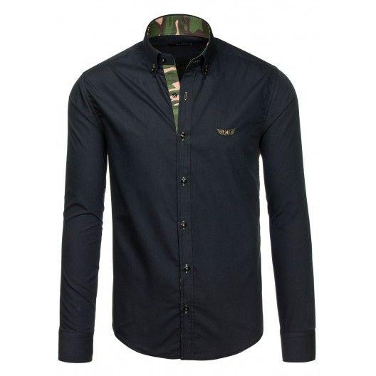Pánska čierna košeľa s maskačovým lemovaním - fashionday.eu