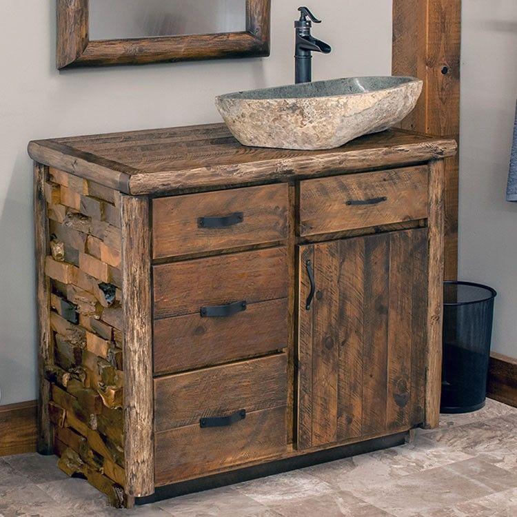 """Westcliffe Pointe Rustic Log Vanity 24"""" 42"""" Small"""