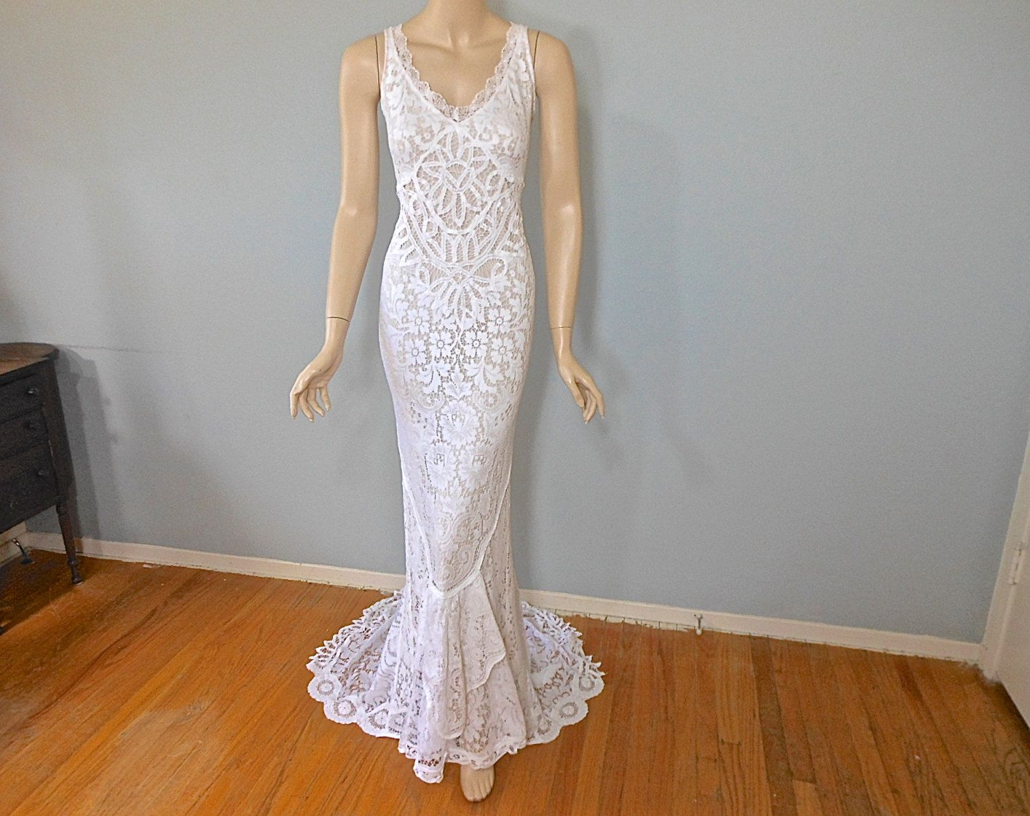 Reserved christel hippie boho wedding dress lace mermaid wedding