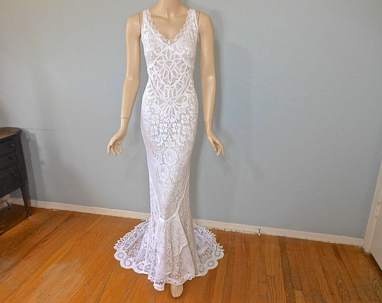 Reserved christel hippie boho wedding dress lace mermaid wedding