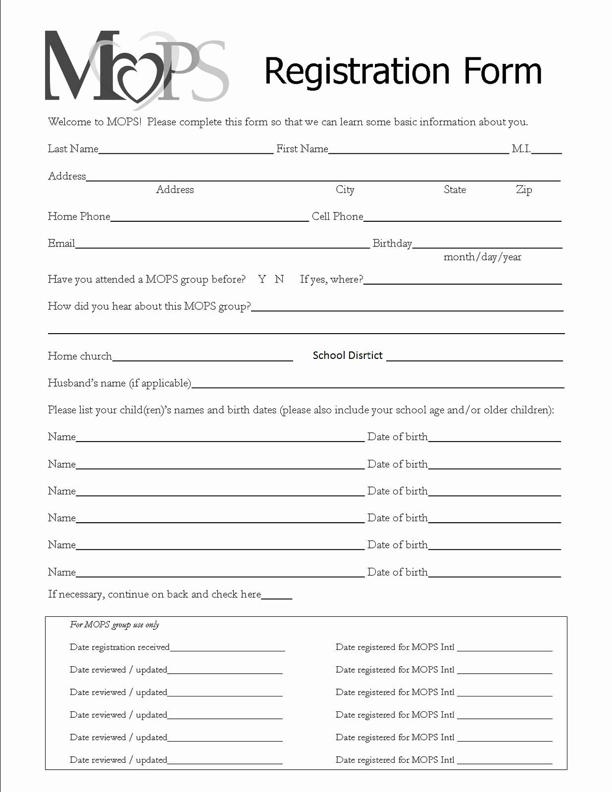 Printable Registration form Template Beautiful Mothers Of