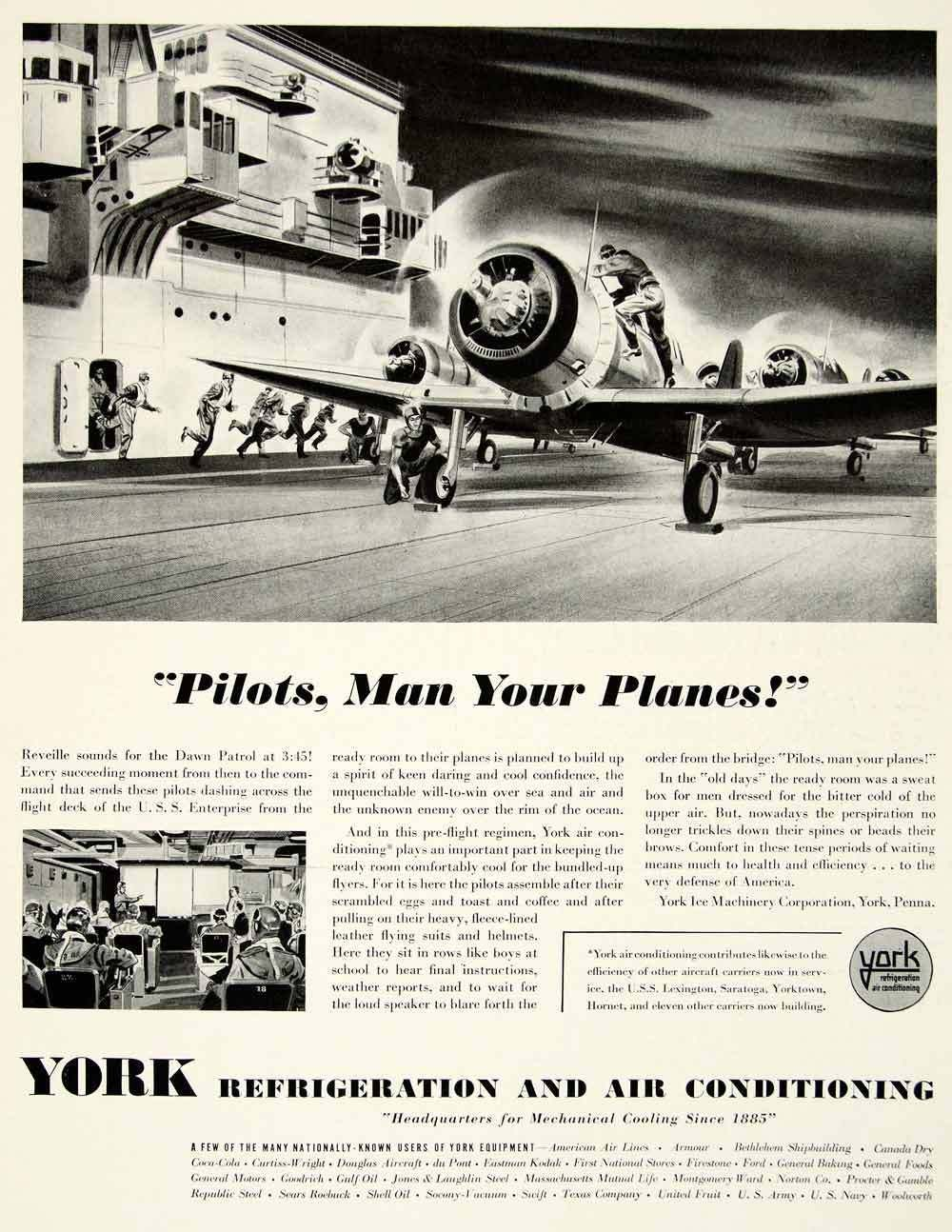 1942 Ad York Refrigerating Air Conditioning Airplane