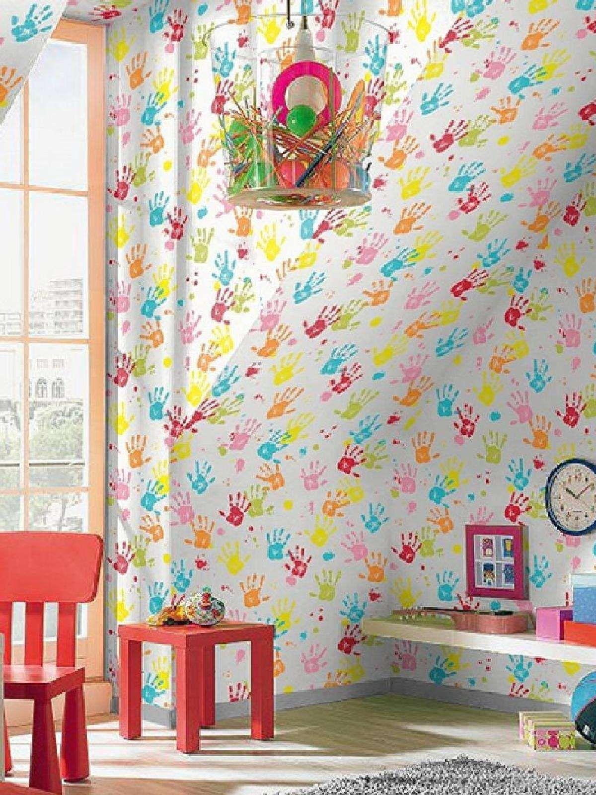 Rasch bright handprints wallpaper wallpaper inspiration for Bright bedroom wallpaper