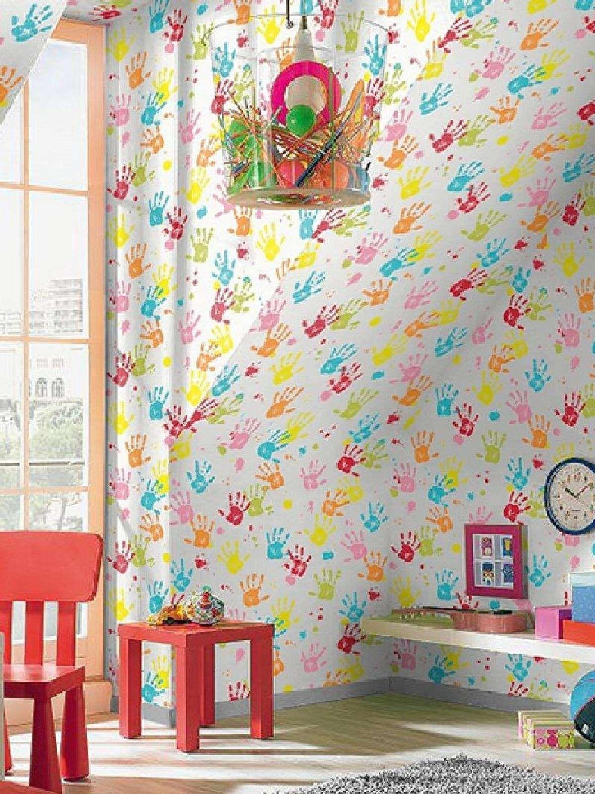 Rasch bright handprints wallpaper wallpaper inspiration for Bright bedroom wallpaper