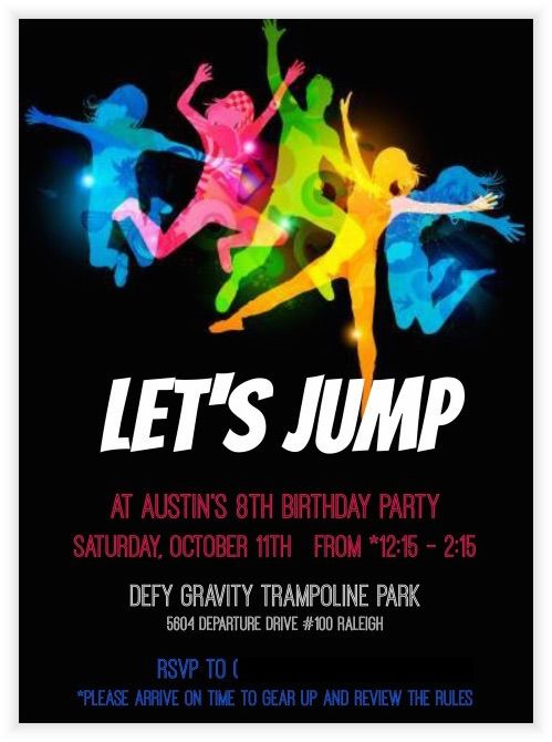 trampoline party invitation made with