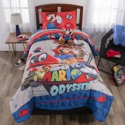 Super Mario Caps Off 5 Piece Multicolored Twin Bed In A Bag Set