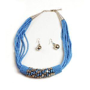 Beaded Barrel Necklace Set: Turquoise