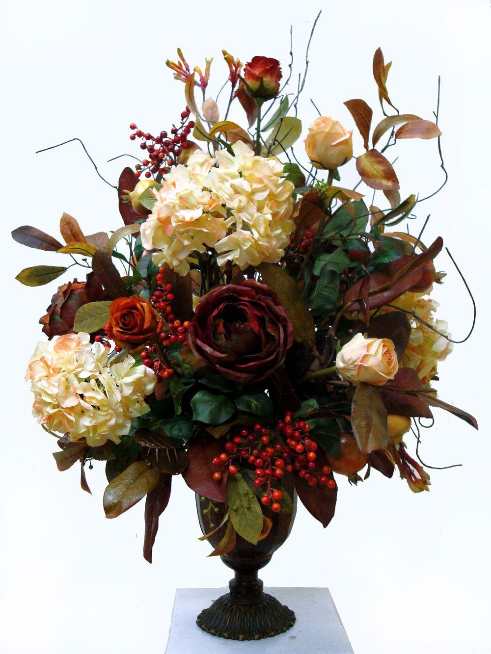 Basic faux floral arrangements table
