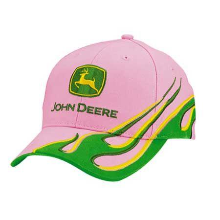John Deere Ladies Pink Green Visor Flame Cap  d40f98cdf5cf