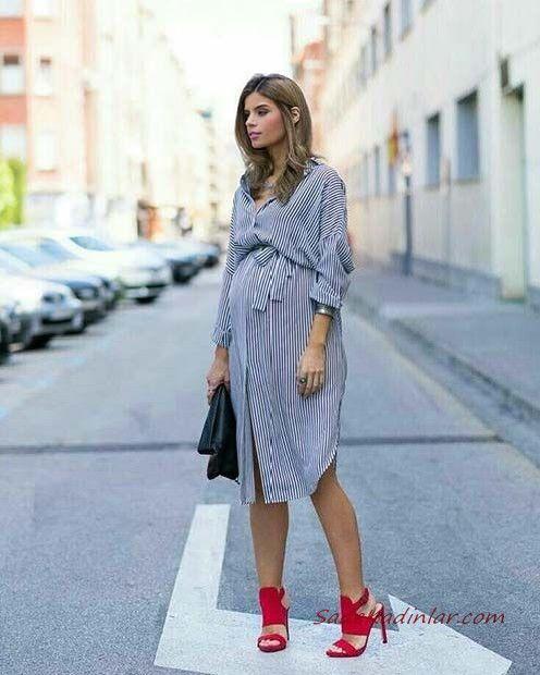 Hamile Kıyafetleri Siyah Midi Uzun Kol Çizgili Gömlek Elbise Kırmızı Stiletto Ayakkabı #moda #fashion #fashionblogger #damenmode #mode #hamilegiyim #hamileelbiseleri #kombin #kombinler #kombinönerileri #pregnant #pregnantfashion #pregnantdress #schwanger #schwangerkleider