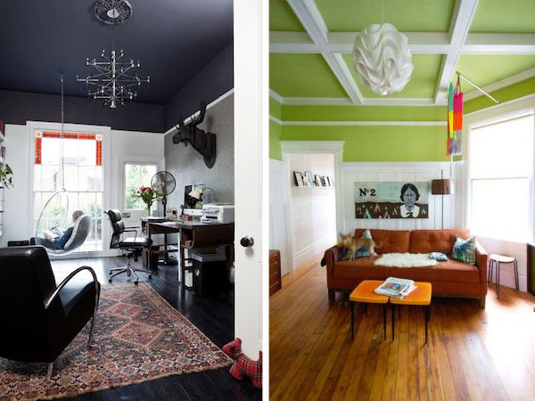 Hanging Bubble Chair | White Beams | Persian Rug | Navy Painted Ceiling |  Green Paint