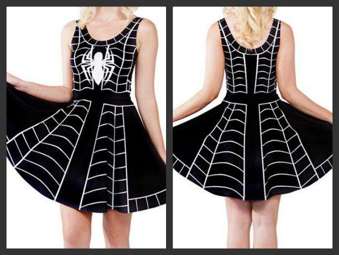 BLACK SPIDER SKATER DRESS – lulutops