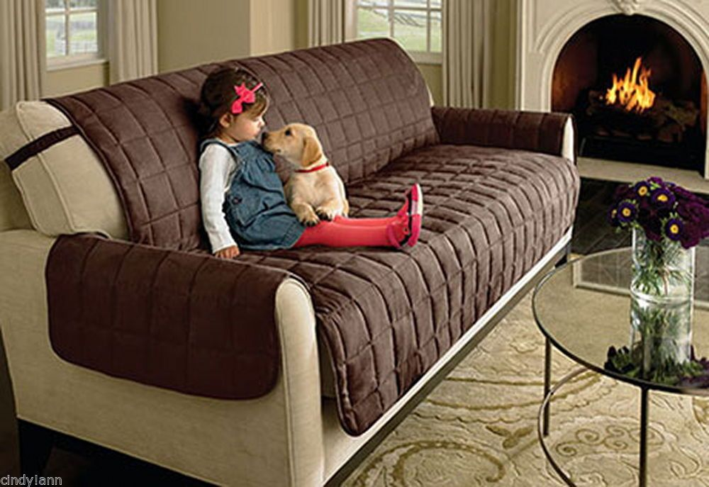 Sure Fit Waterproof Strap Suede Pet Dog Slip Cover Sofa Chair Loveseat Chocolate Furniture Covers Slipcovers Furniture Covers Waterproof Furniture