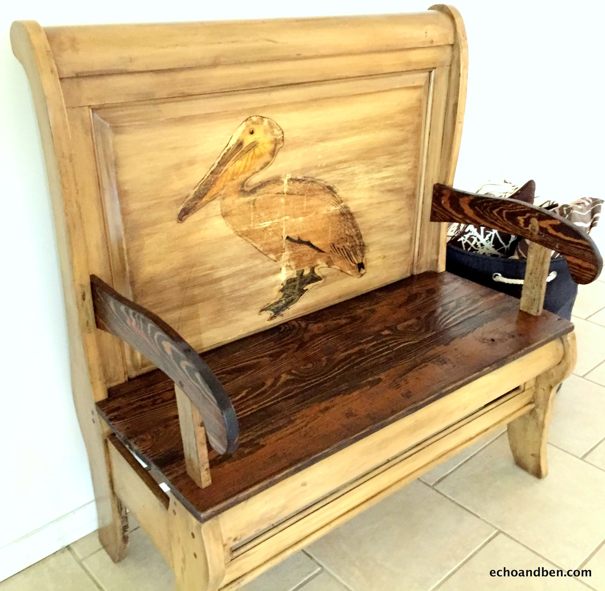 Outstanding Decorative Arm Bench Made From Re Purposed Twin Sleigh Bed Spiritservingveterans Wood Chair Design Ideas Spiritservingveteransorg
