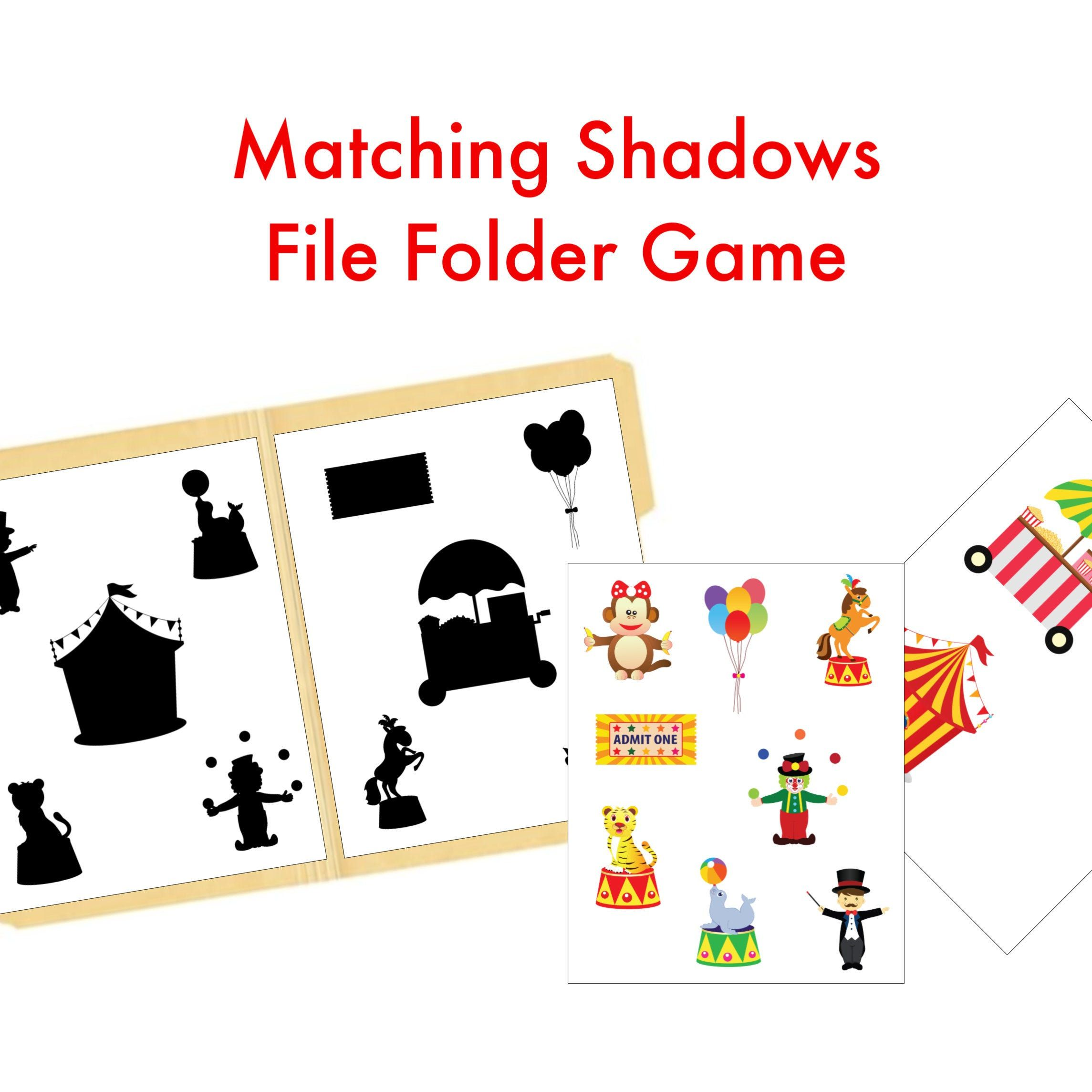 Circus Matching Activity File Folder Learning Game In