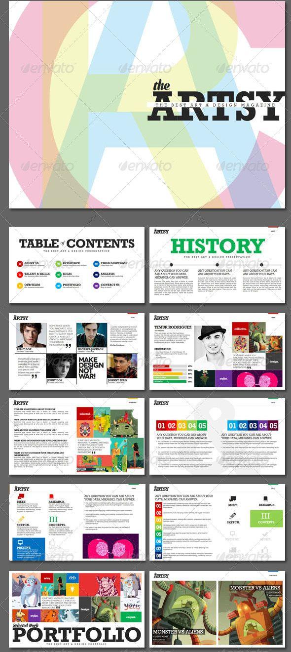 artsy magazine powerpoint template | graphic design | pinterest, Modern powerpoint