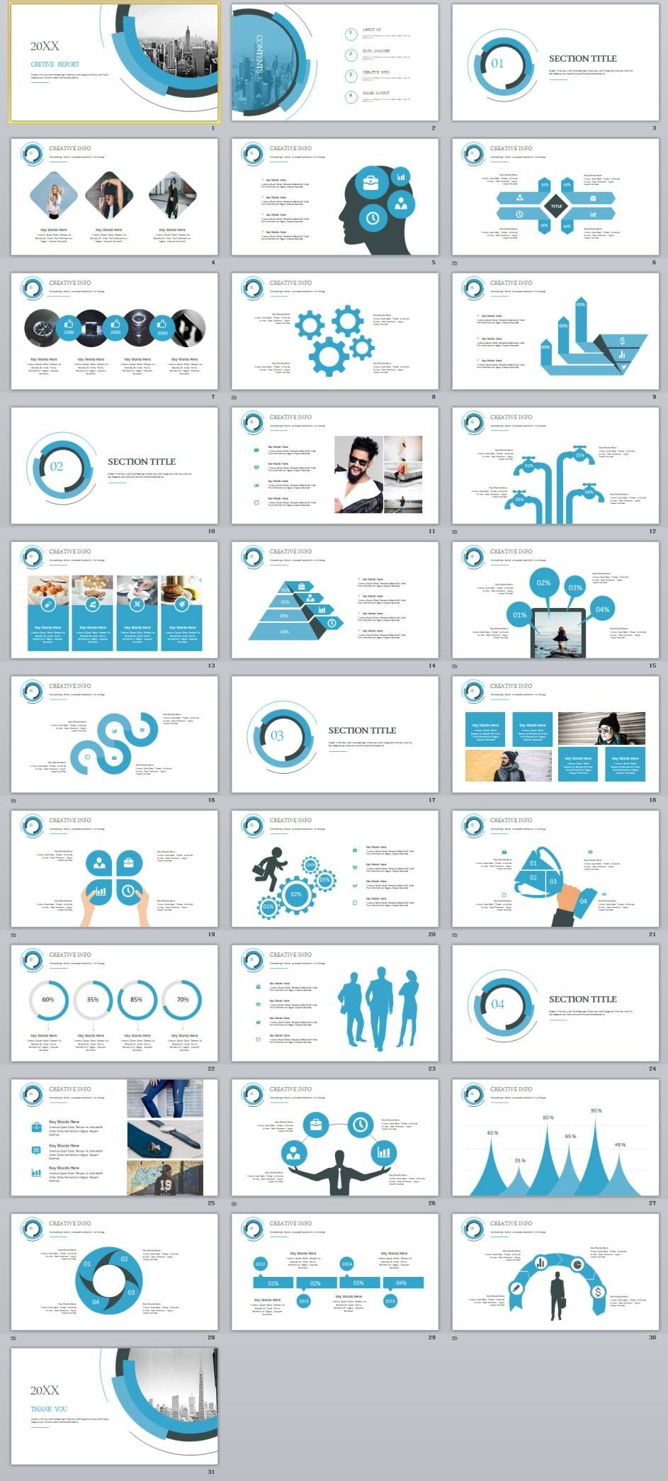 31 blue creative annual report powerpoint presentations template