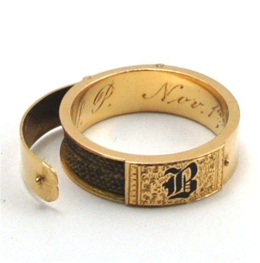 antique gold enamel hair locket mourning