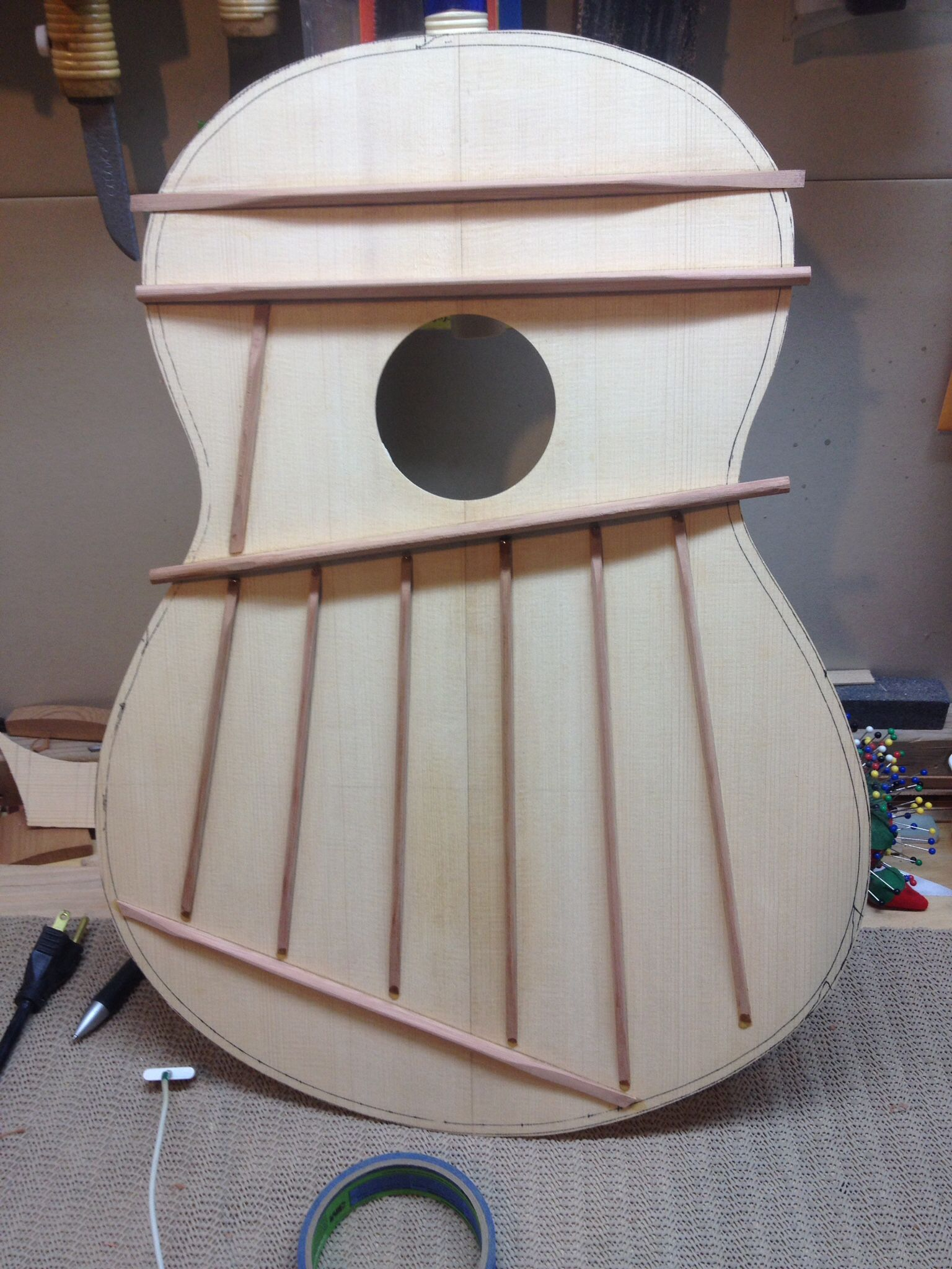 I thought I would go out of the box and use Western Red Cedar for my bracing and harmonic bars on my Engleman Spruce top.