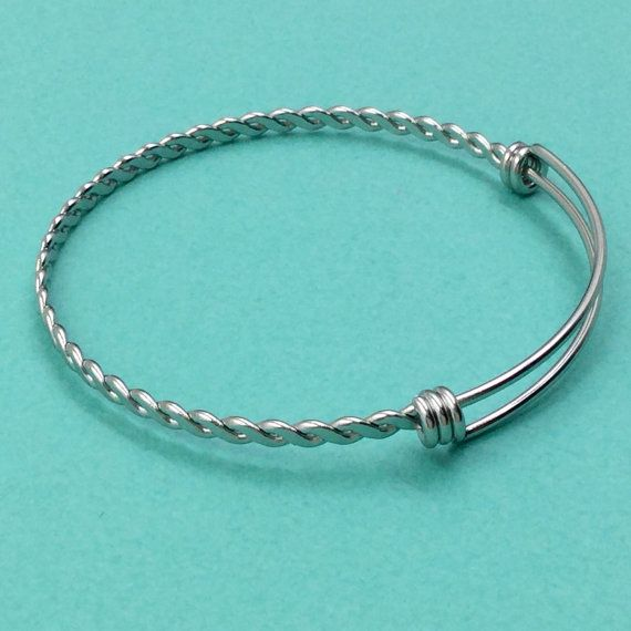 10pcs BRAIDED TWISTED Stainless Steel Adjustable Wire Bangle ...