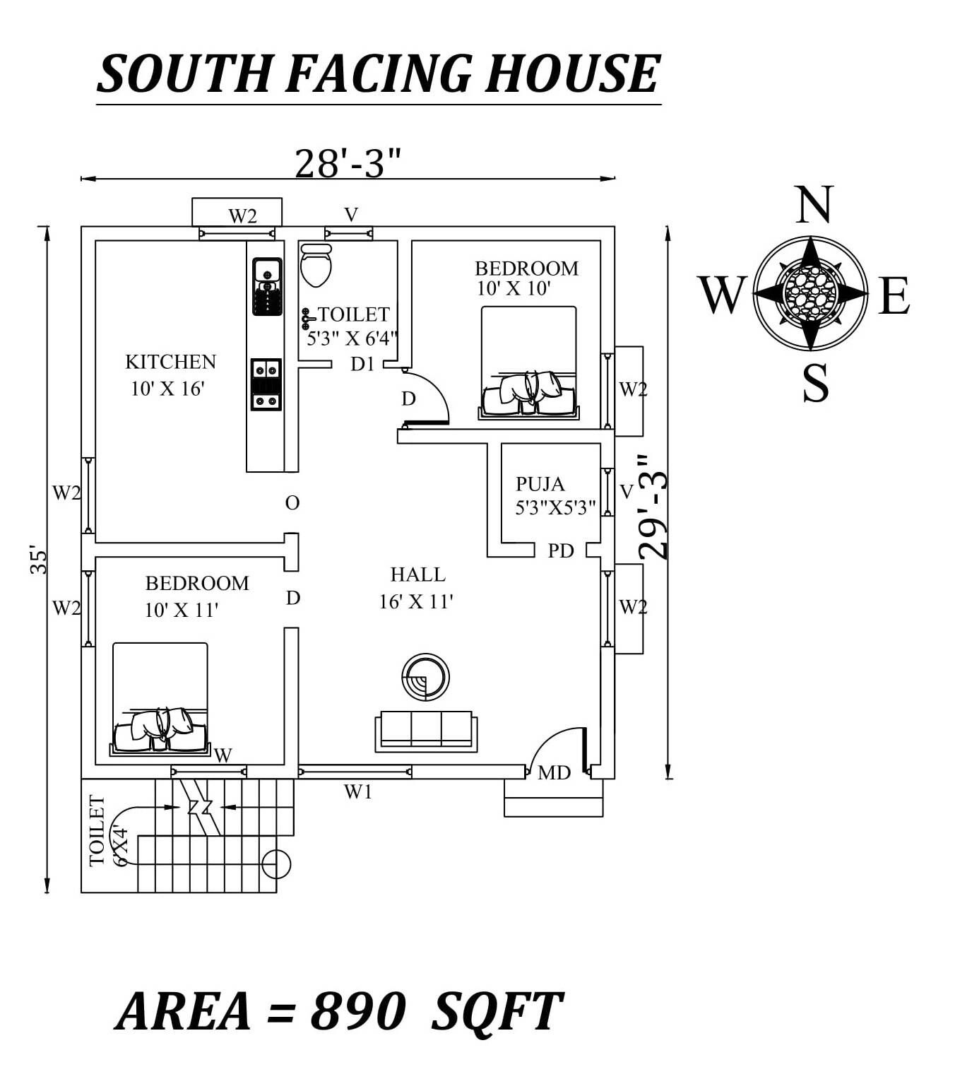 28 x35 2bhk Awesome South facing House Plan As Per Vastu Shastra Autocad DWG and Pdf file details