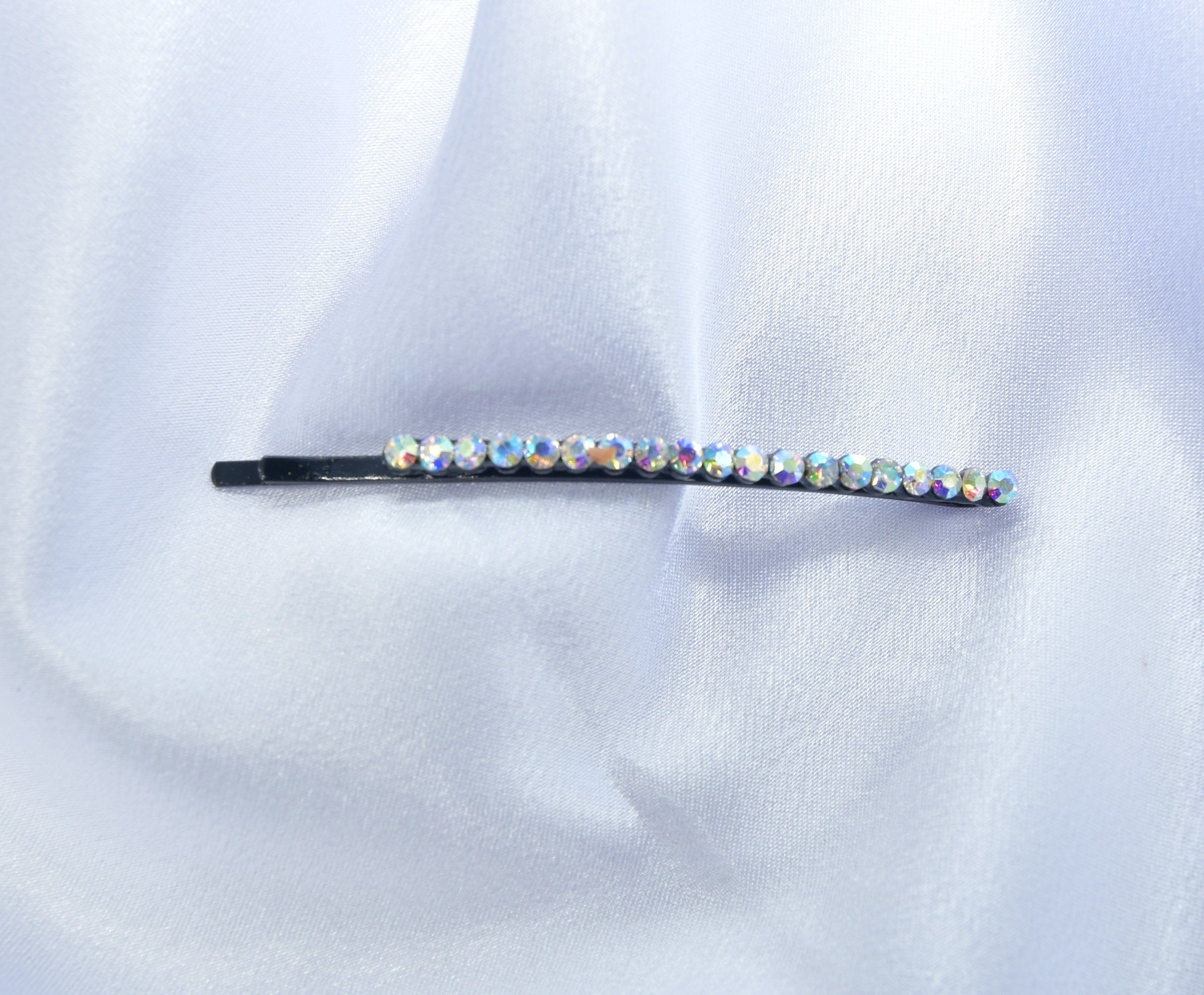 repurposed jewelry Black Onyx hair pin Black rhinestone hair pin jeweled hair pin hair accessories rhinestone hair pin