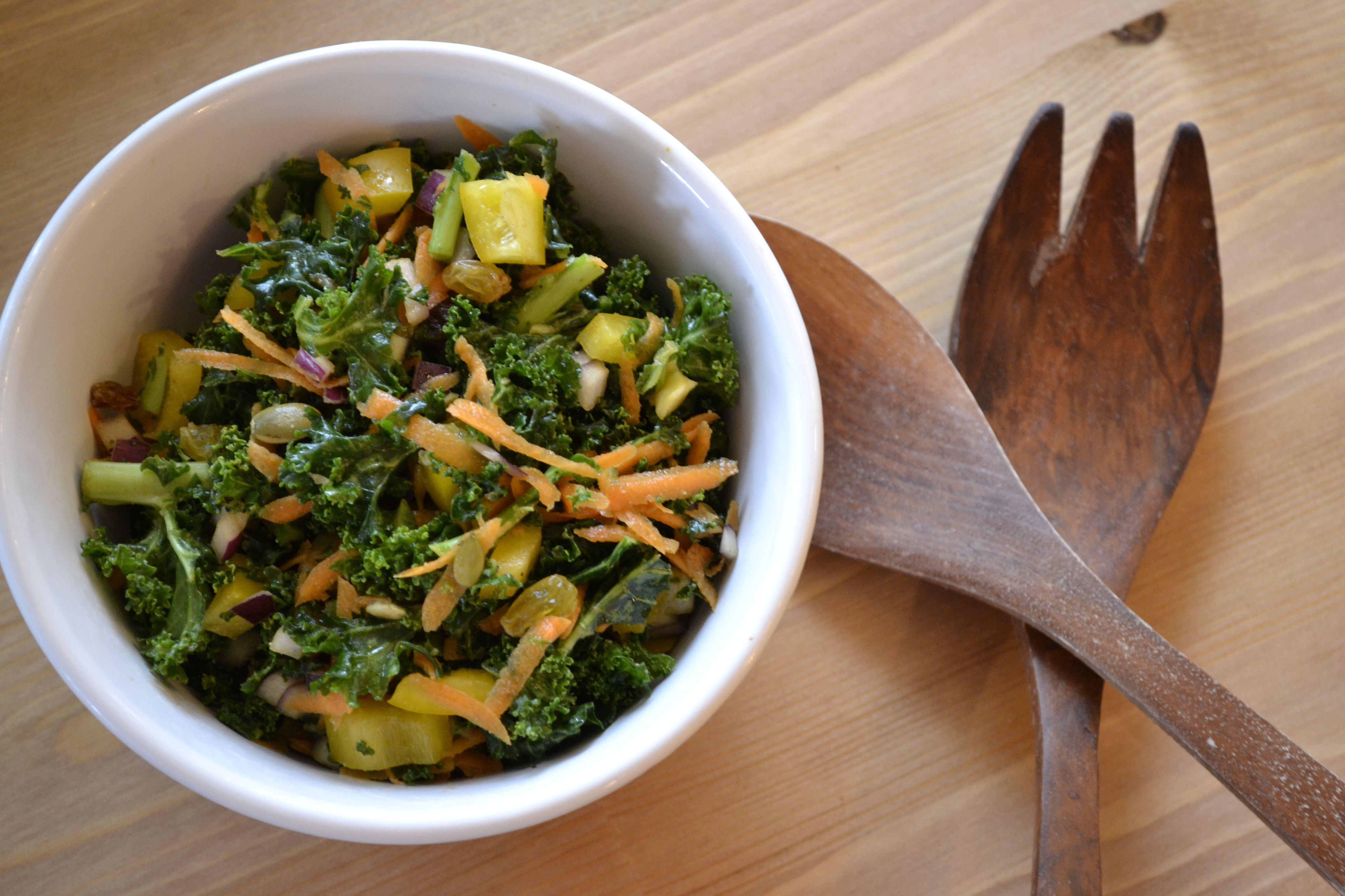 The best kale salad ever! - The Best Kale Salad with tamari, orange juice and cumin dressing.
