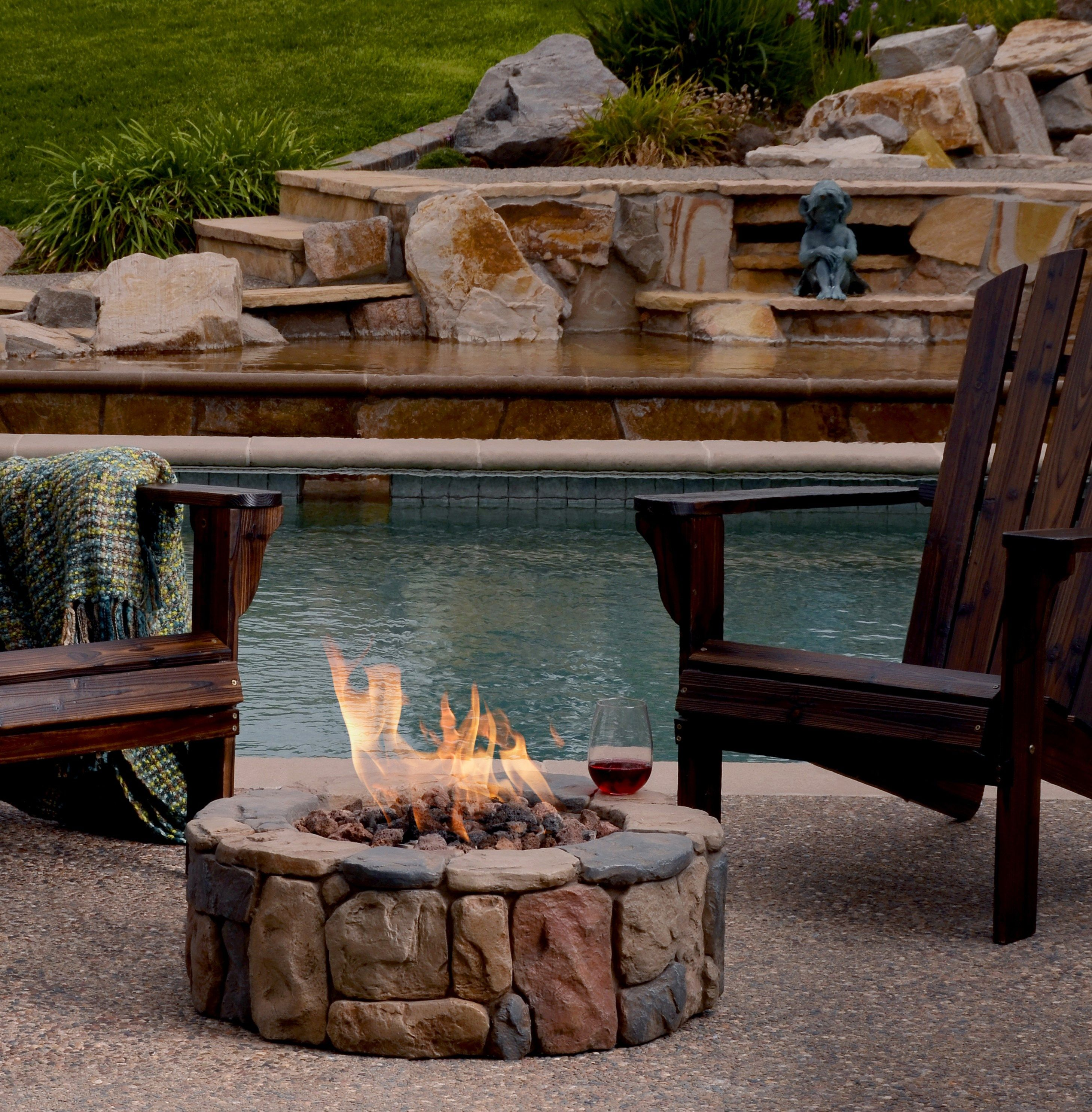 patio heaters faux stone fire pit poolside or on the patio