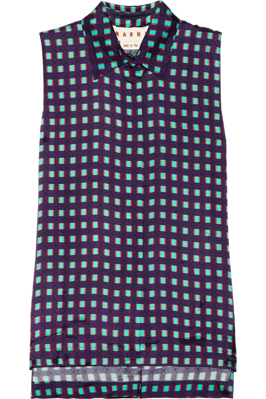 Marni   Checked sateen-twill top   NET-A-PORTER.