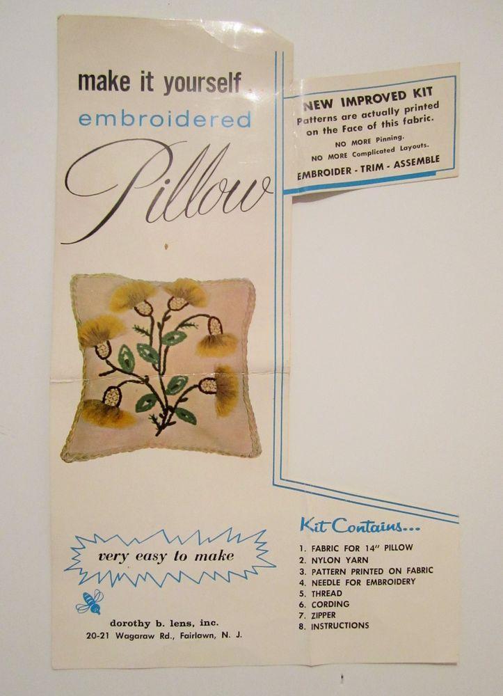 Vintage Crewel Embroidery Dorothy Lens Jacobean Flowers Thistle Pillow Kit Aqua #DorothyLens #JacobeanFlowers