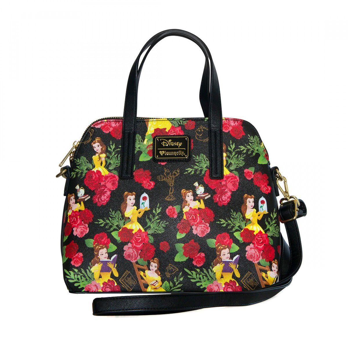 Princess Belle Disney Loungefly Floral AOP Handbag Purse