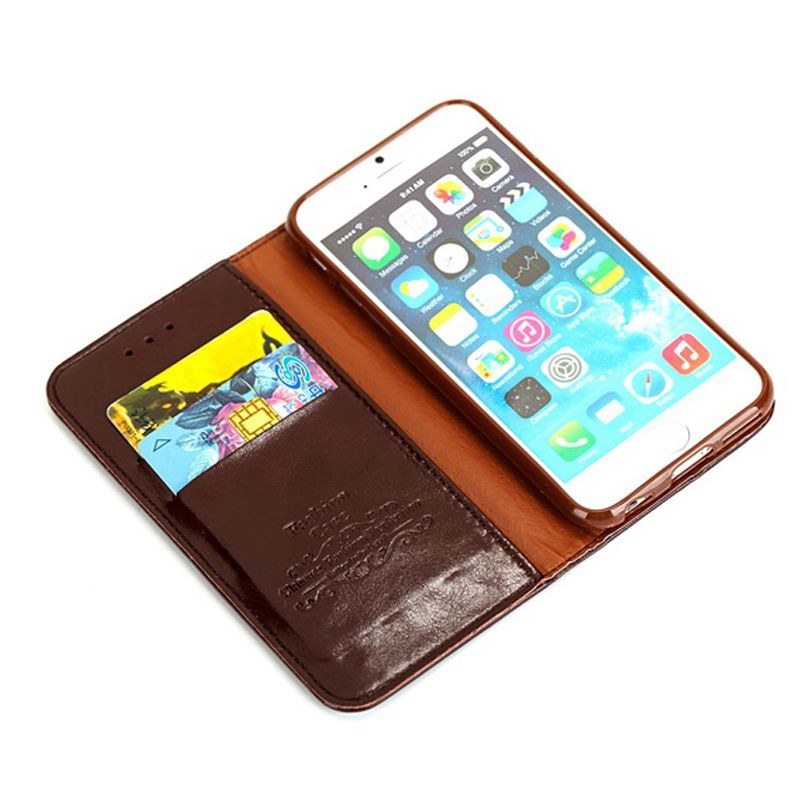 100 Genuine Real Leather Flip Wallet Case For Iphone 5s 6