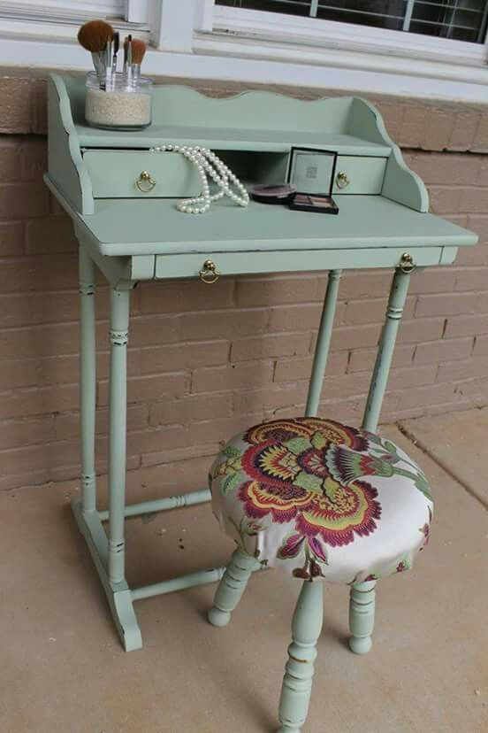 Miraculous Small Writing Desk Or Vanity Custom Chalk Paint Hand Gmtry Best Dining Table And Chair Ideas Images Gmtryco