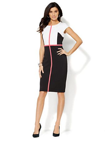 50d47f7adbd Shop 7th Avenue Suiting Collection - Colorblock Sheath Dress - Black. Find  your perfect size online at the best price at New York   Company.