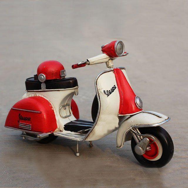 Infpass – Handmade Antique Tin Model Motorbike Red 1958 Vespa Scooter Model